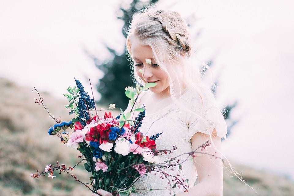 Beautiful, Flower, Bride, White Dress, Outdoors, Girl