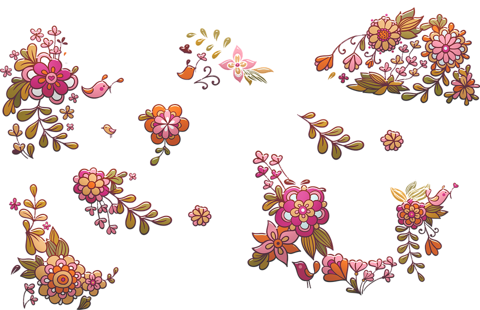 Flower Clusters, Birds, Floral, Wedding, Flower, Pink