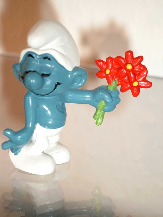 Smurf, Fig, Bouquet, Blue, Flower, Red, Blue White