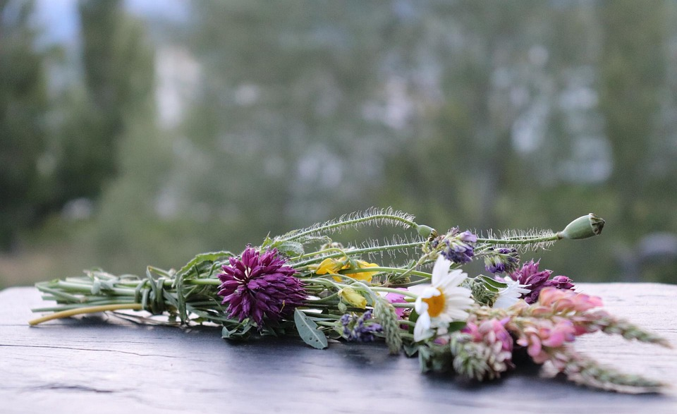 Flower Bouquet, Field Flowers, Slate, Background, Wild