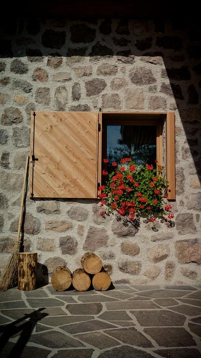 Window, Flower Box, Wall, Shutter, Stone Wall, Home