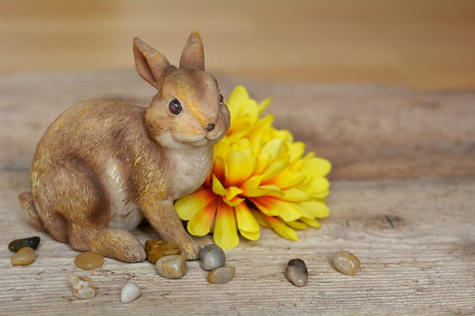 Hare, Easter Bunny, Dekohase, Dekoblume, Flower, Yellow