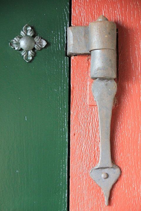 Door, Angel, Flower, Stripes, Red, Green