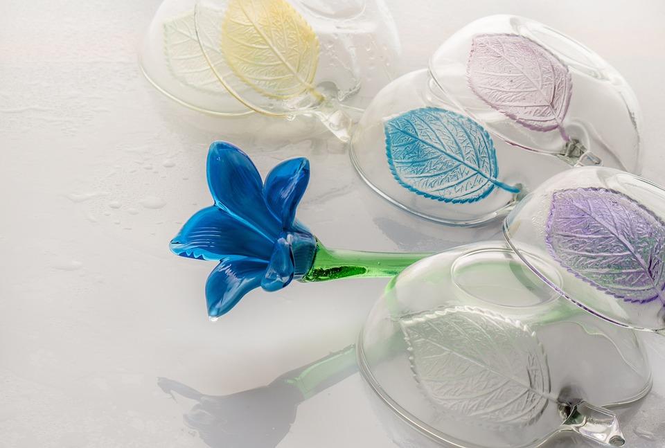 Glass, Flower, Dishes, Washing, Fresh, Blue, Decor