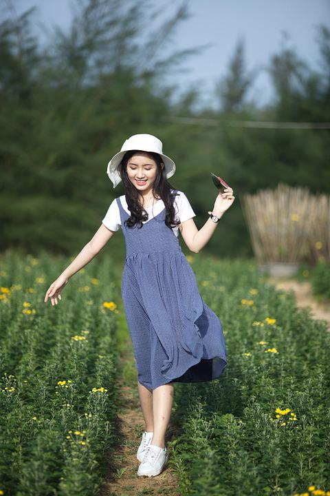 Girl, Girl And Watermelon, Women, Flower