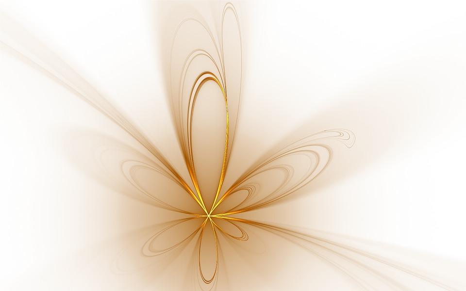 Gold, Golden, Floral, Flower, Fractal, Abstract