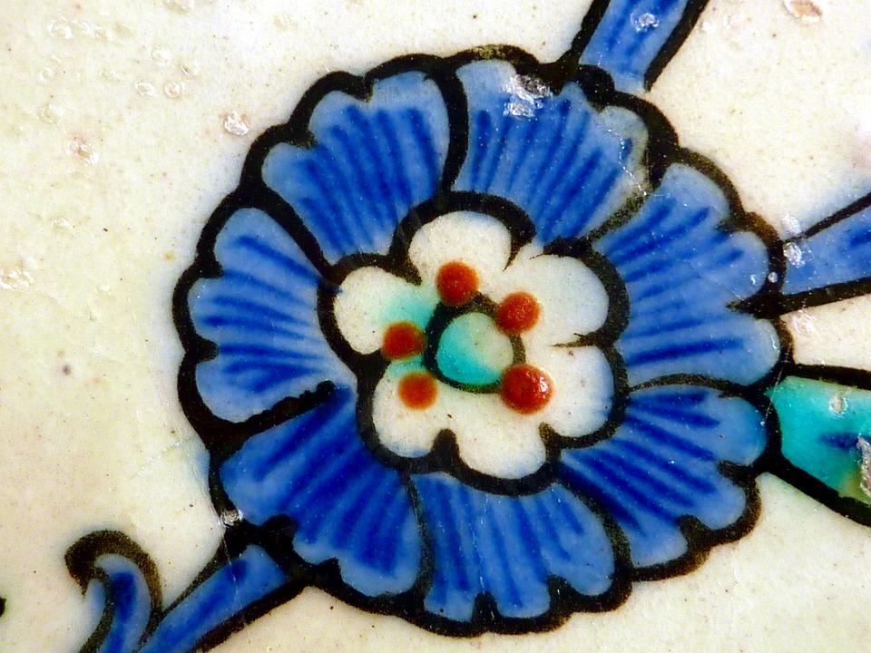 Mosaic, Flower, Blue