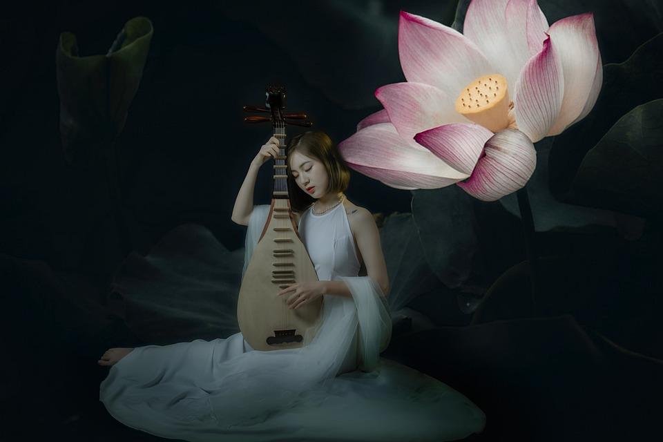 Woman, Flower, Petals, Musical Instrument, Studio