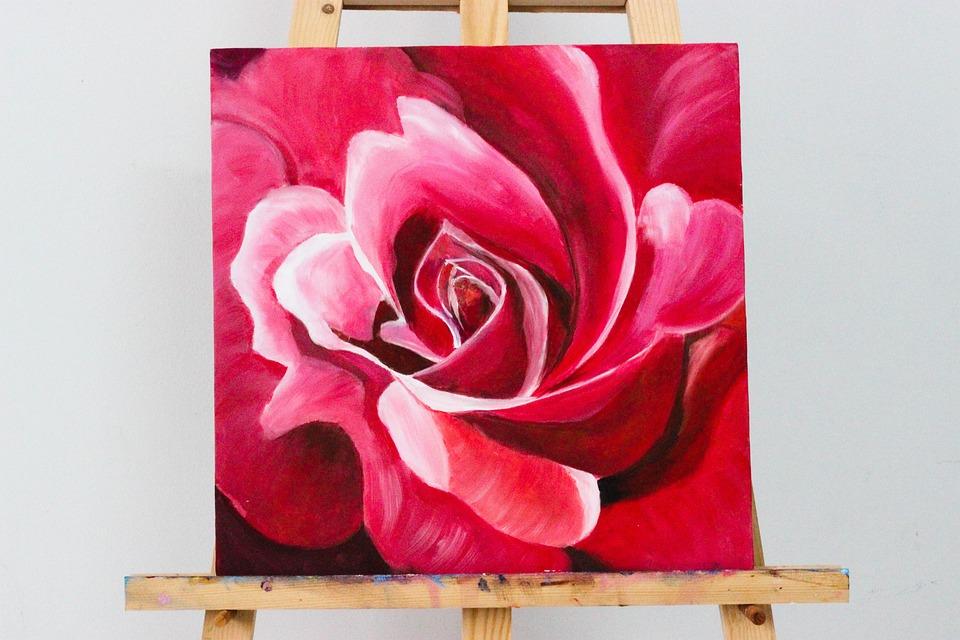 Flower, Red, Oil Painting, Wood, Black, Vietnam