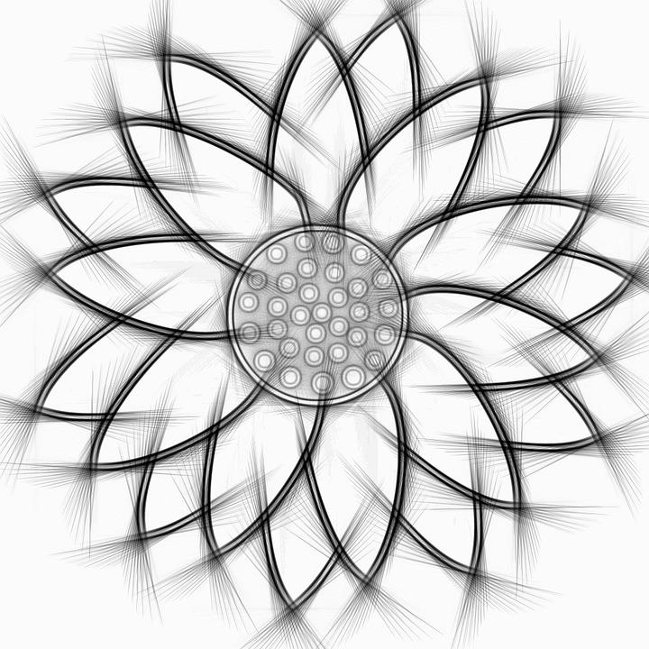Sunflower, Abstract, Pencil, Flower