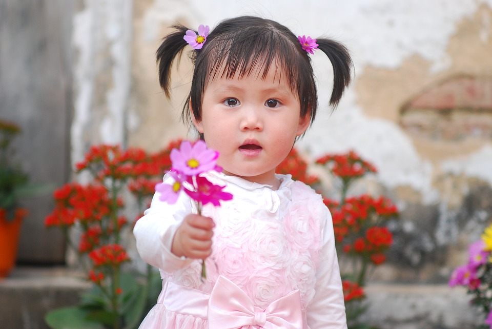 Baby, Flower, Crying, Child, Ponytails