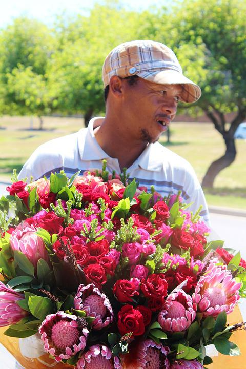 Flower Seller, Flowers, Rose, Bouquet Of Roses, Red