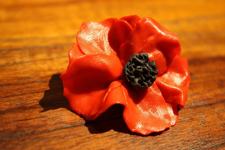 Poppy, Flower, Polymer, Clay, Brooch, Remembrance, Wood