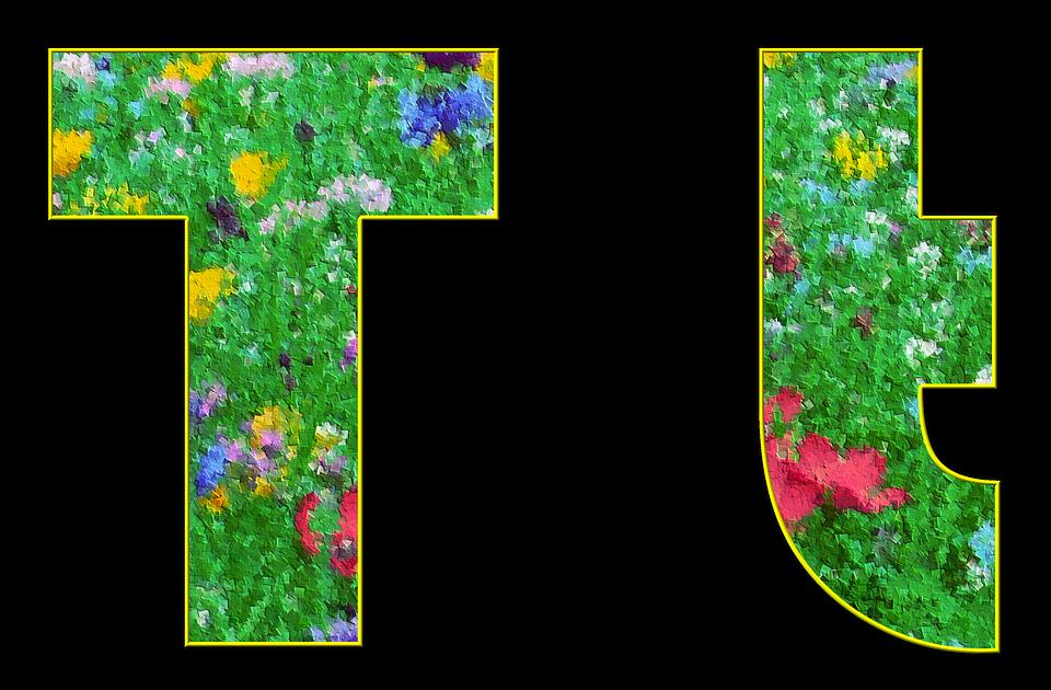 T, Letter, Alphabet, Font, Spring, Meadow, Flowers