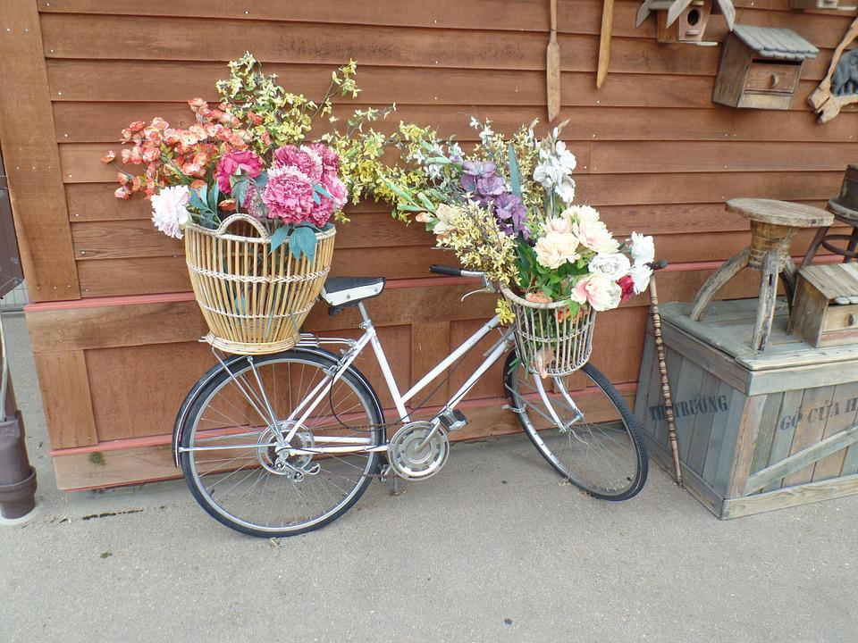 Bicycle, Flowers, Basket