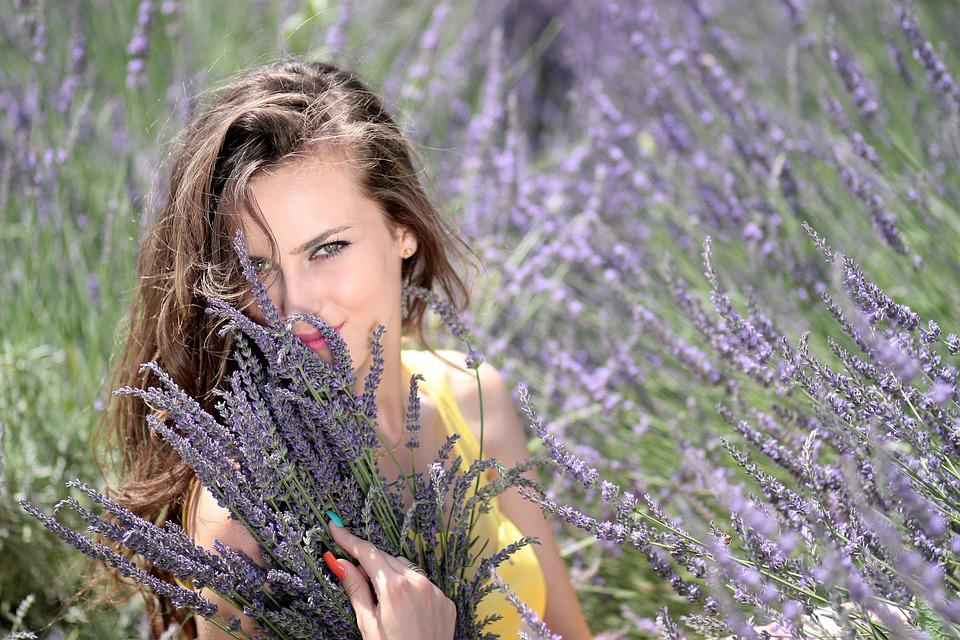 Girl, Lavender, Flowers, Mov, Beauty, Nature