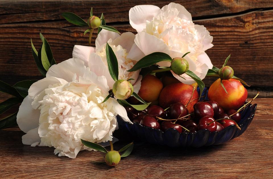 Peonies, Flowers, Berries, Cherry, Peach, Still Life