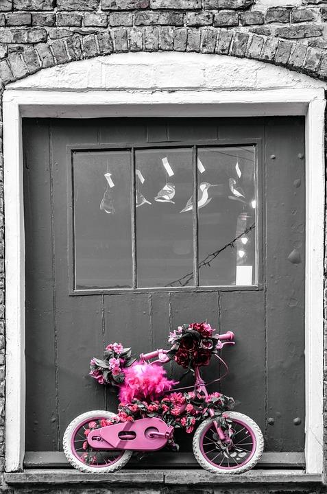 Children, Bike, Bicycle, Small, Door, Flowers, Pink