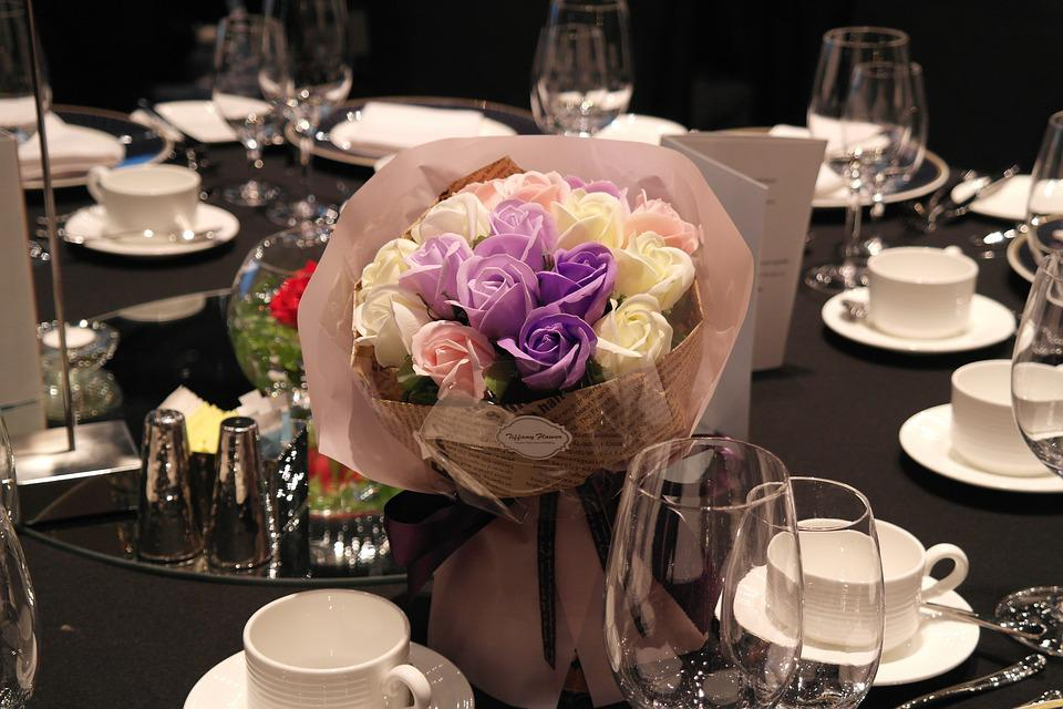 Bouquet, Dining, Flowers, Romantic, Congratulations