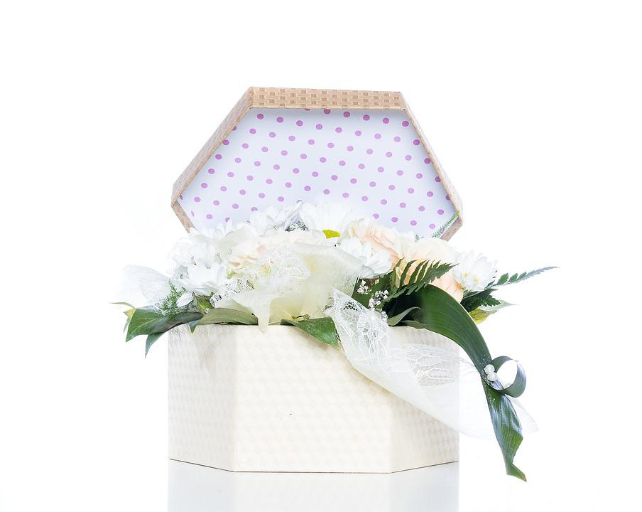 Wedding, Box, Flowers, Detail, Bouquet, White, Romantic