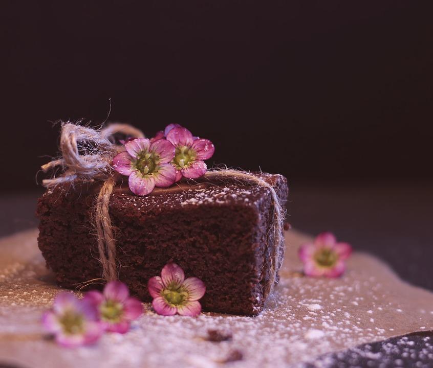 Brownie Cake Pastries Birthday Candle Flowers