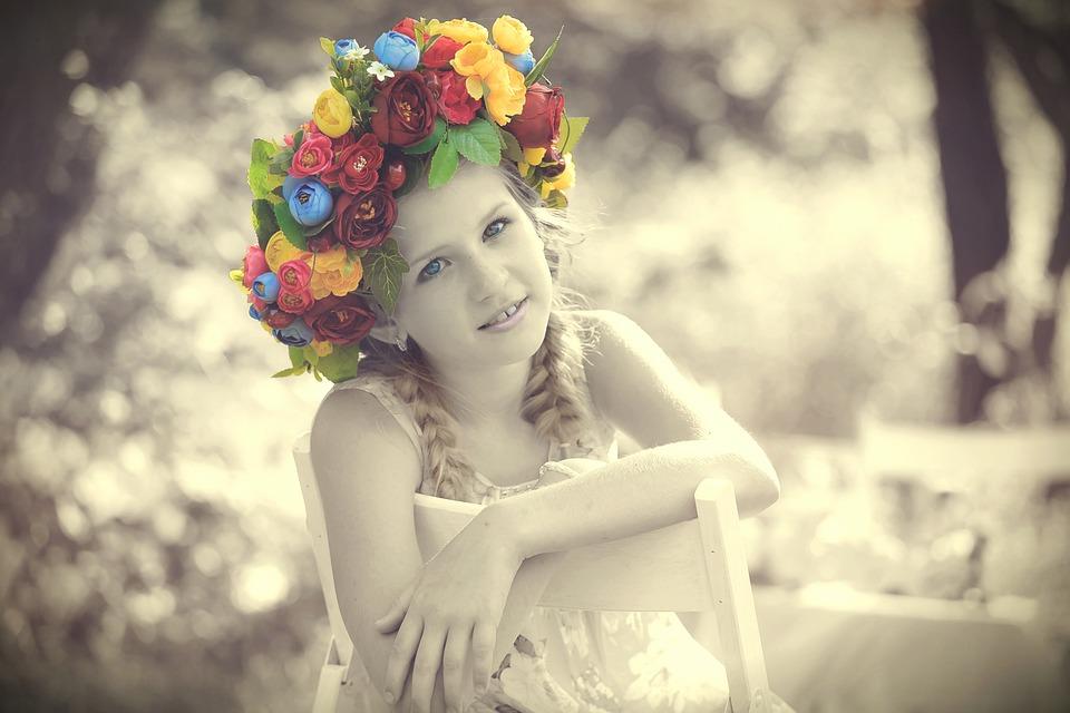 Girl, Child, Human, Face, Portrait, Flowers