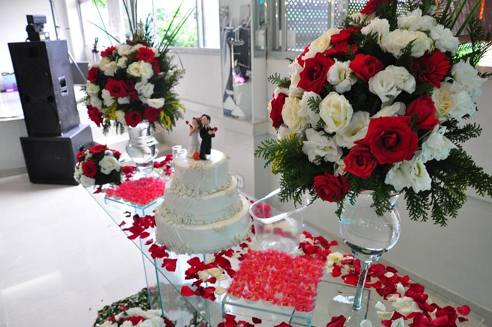 Decorated Table, Wedding Cake, Decoration, Flowers