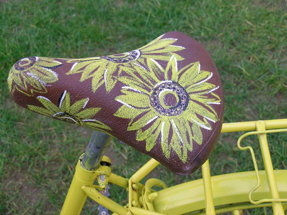 Saddle, Bicycle, Flowers, Decoration, Yellow
