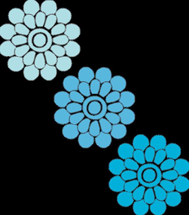 Flowers, Blue, Three, Floral, Patterns, Designs, Petals