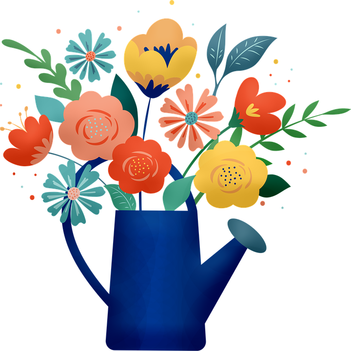 Flower Bouquet, Flowers, Watering Can, Flower Pot