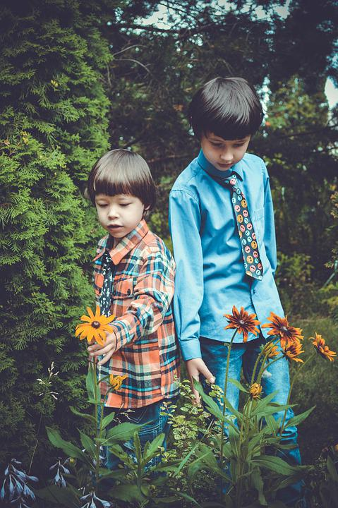 Kids, Flowers, Flower, Baby, Colorful, Nature, Cute