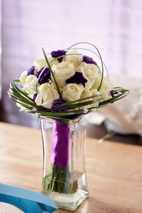 Flowers, Bouquet, Wedding, White, Purple, Piece, Flower