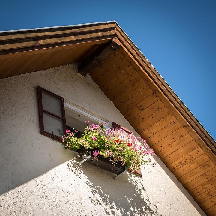 Window, Roof, Shutter, Gable, Flowers, Flower Box, Sky