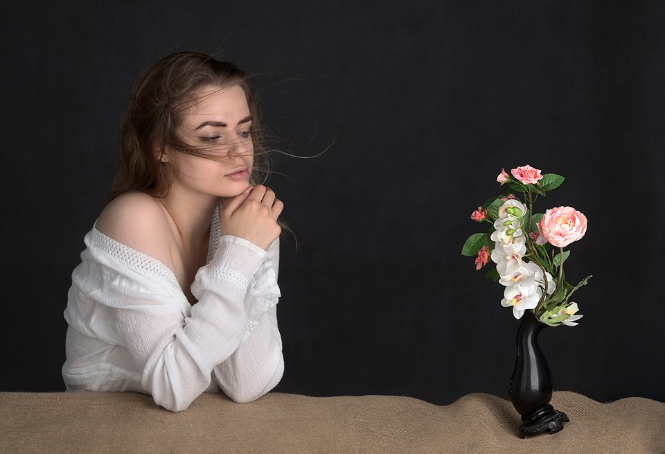 Girl, Woman, Beauty, Flowers, The Waves, Storm, Fiction