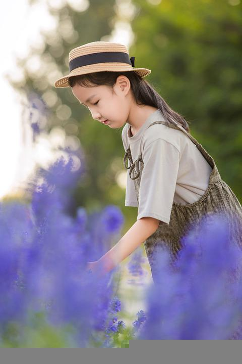 Girl, Child, Flowers, Field, Playing, Young, Kid