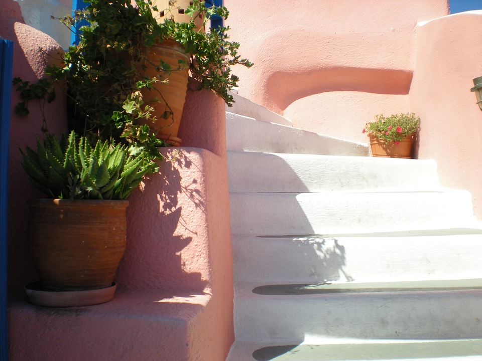 Santorini, Stair, Flowers, Greek Island, Greece