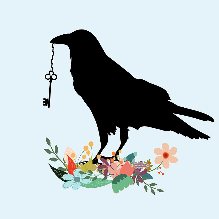 Bird, Raven, Black, Crow, Beak, Key, Holding, Flowers