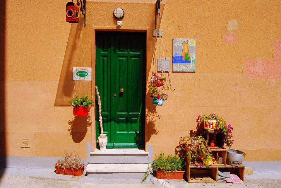 Door, Entrance, Flowers, House, Steps