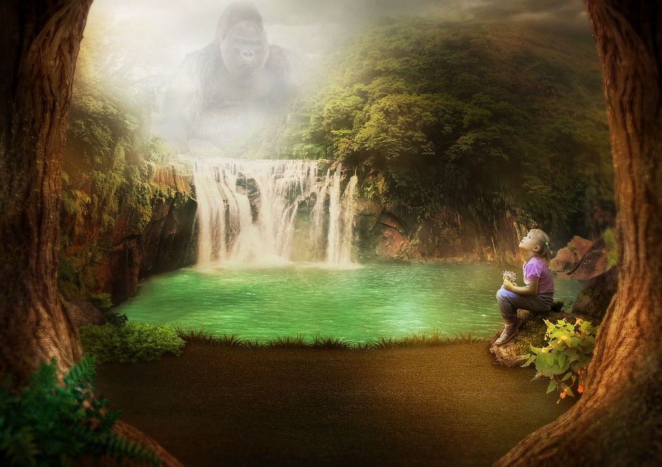 Gorilla, Girl, Waterfall, Jungle, Trees, Lake, Flowers