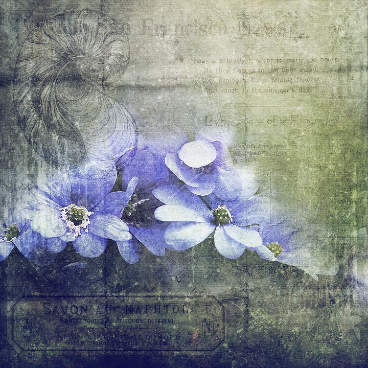 Scrapbook, Texture, Flowers, Green, Life
