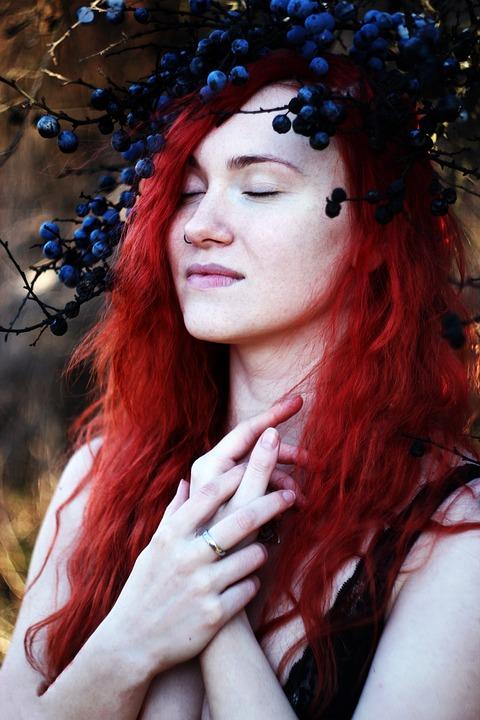 Girl, Red, Beauty, Portrait, Woman, Flowers, Luscious