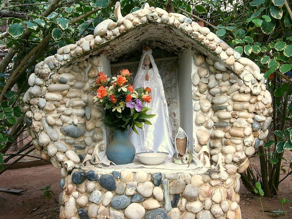 Mexico, Memorial, Vase, Madonna, Stone, Flowers