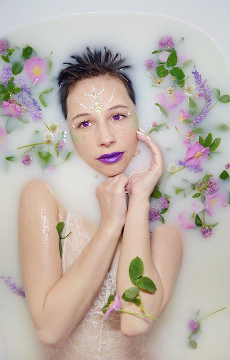 The Girl In The Bathtub, Milk Bath, Leaves, Flowers