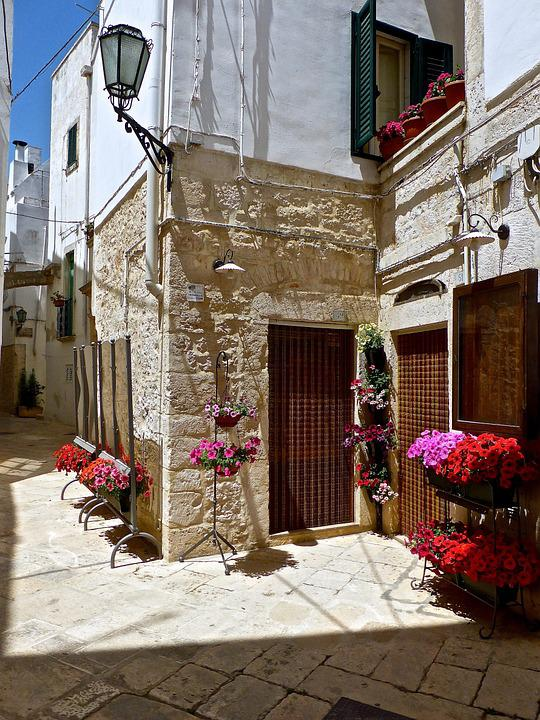 Alley, Flowers, Narrow, Mediterranean, Entrance