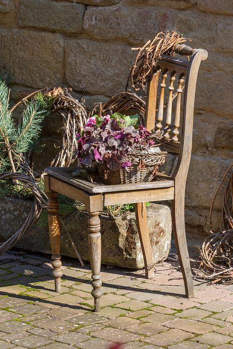 Chair, Flowers, Sit, Garden Furniture, Old Town