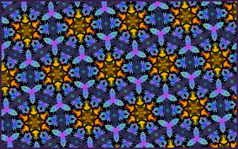 Blue, Flowers, Wallpaper, Backgrounds, Pattern
