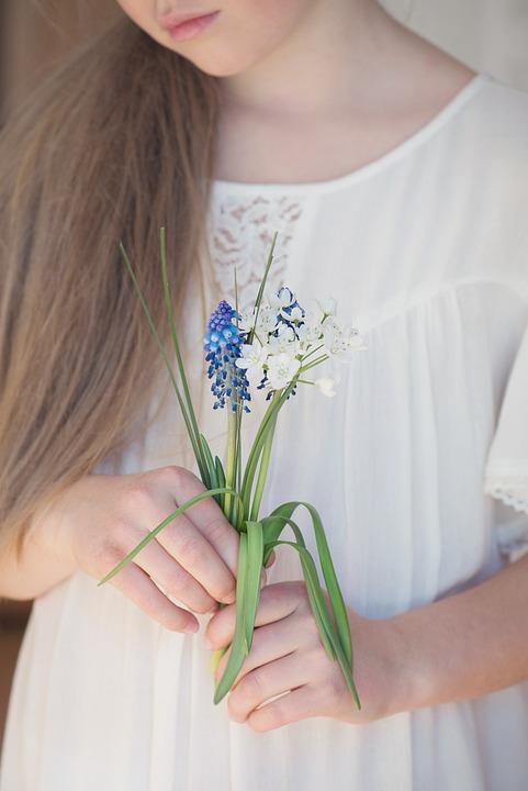 Person, Human, Female, Flowers, Hyacinth, Leek Flower