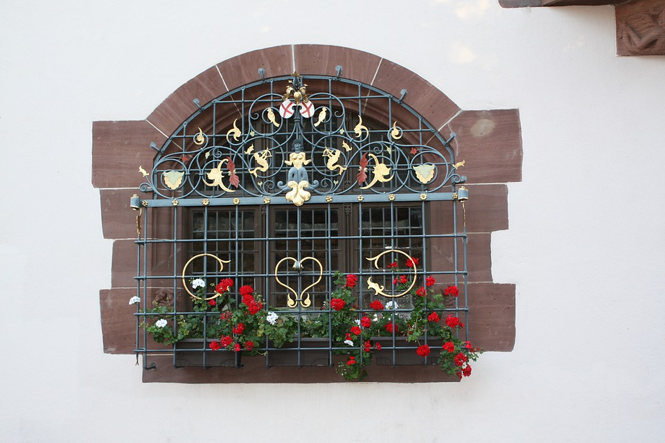 Window, Building, Home, Wall, Grid, Plant, Flowers