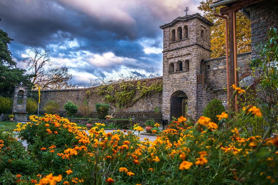 Abbey, Church, Priesthood, Building, Flowers