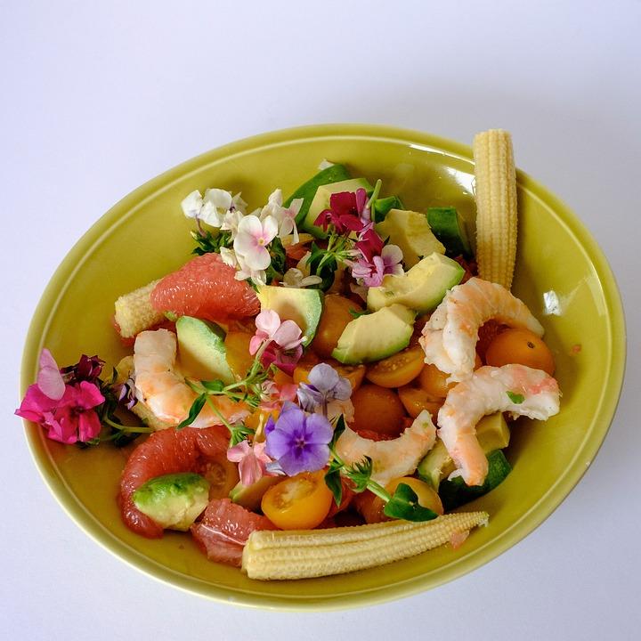 Salad, Shrimp, Flowers